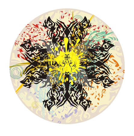 Circle with tiger splashes. Tribal grunge awful psychedelic circle with butterflies, tiger splashes, colorful drops, and floral elements Иллюстрация