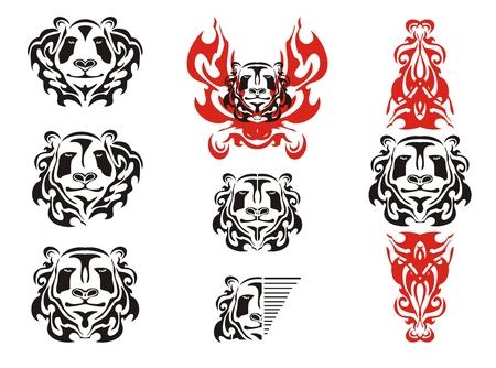 Panda head tattoos symbols. Tribal black and white panda bear head mascot and panda head in fire Vector