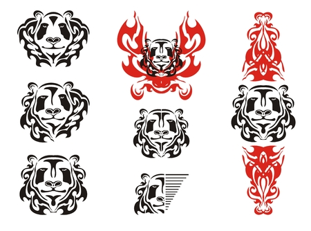 giant panda: Panda head tattoos symbols. Tribal black and white panda bear head mascot and panda head in fire