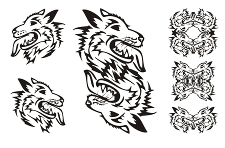 open flame: Samoyed dog breed. Tribal dog symbols
