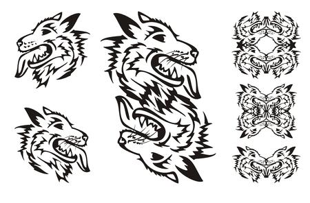 samoyed: Samoyed dog breed. Tribal dog symbols