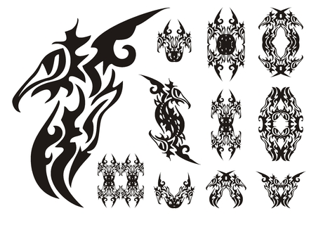 peaked: Freakish birds elements. Peaked freakish phoenix symbols, frames of a phoenix in tribal style. Black on the white Illustration