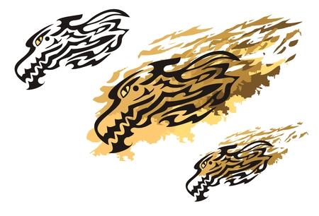 cabeza de dragon: Tribales jefe de fuego drag�n y drag�n salpicaduras. Diagonal de la cabeza del drag�n dirigido llameante creando ilusi�n de vuelo en el estilo tribal