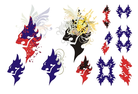 Lions head symbols isolated on a white background. Tribal roaring lion head symbols with splashes and lions elements Vector