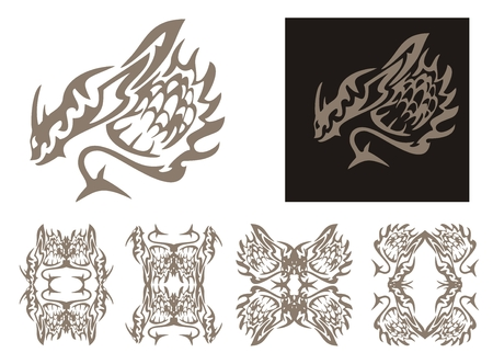 imperious: Tribal horned dragon and dragons frames. Tribal stylized dragon with a tail in the form of an arrow and dragon frames isolated on a white background