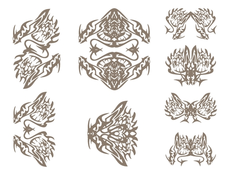 dragon fish: Dragons symbols in tribal style. The decorative symbols of a dragon inspiring fear: dragon butterfly, dragon fish, frame of a dragon and others Illustration