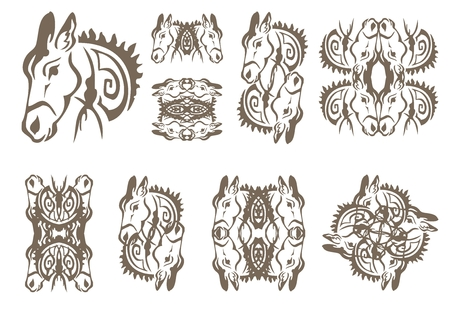 ears donkey: Donkey symbols in tribal style. The twirled donkey symbols isolated on a white background