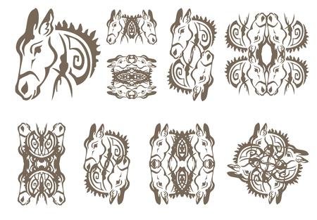 twirled: Simboli Donkey in stile tribale. I simboli asino twirled isolati su uno sfondo bianco Vettoriali