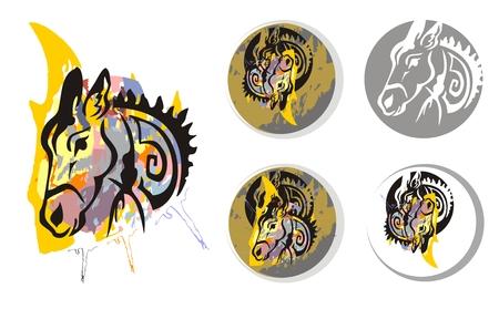 twirled: Donkey spruzzi psichedelici simboli. La testa di un asino con spruzzi. Simboli Donkey in un cerchio