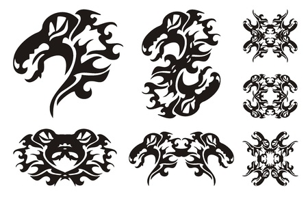 open flame: Tribal dragon set. Wavy sea dragon with an open mouth and dragon frames. Black on the white