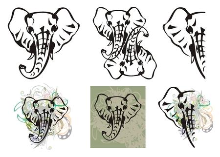 Elephant head symbols and elephant head splashes Vector