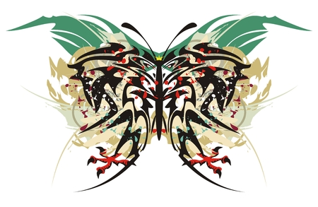 stately: Tribal butterfly splashes with eagle claws. Grunge tribal butterfly inspiring fear with blood drops