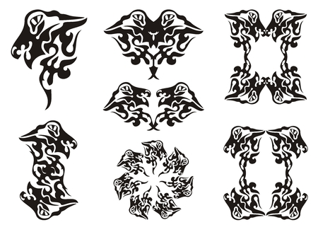 Tribal wavy dragon set. Black on the white Vector