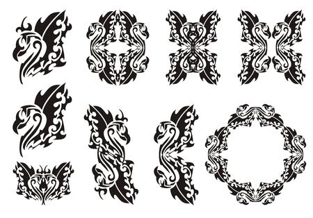 ave fenix: Sistema de phoenix tribal. Negro en el blanco. El aumento de las cenizas de un ave f�nix con las alas abiertas, marcos de aves y dobles s�mbolos del F�nix Vectores