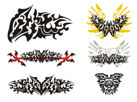awful: Freakish tribal dragon butterfly set. Freakish awful dragon symbols isolated on a white background Illustration