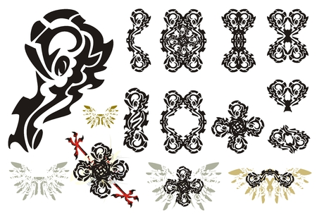 cross and eagle: Ornate design elements. Decorative  tribal elements: frames crosses double floral symbols and other Illustration