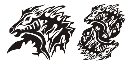 vinyl cutting: Aggressive flaming horse. Tribal horse head and double horse sing ready for vinyl cutting