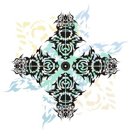 abstract cross: Croce tribale spruzzi tatuaggio. Grunge croce astratto si � formata dagli uccelli testa con spruzzi ondulate blu su sfondo bianco