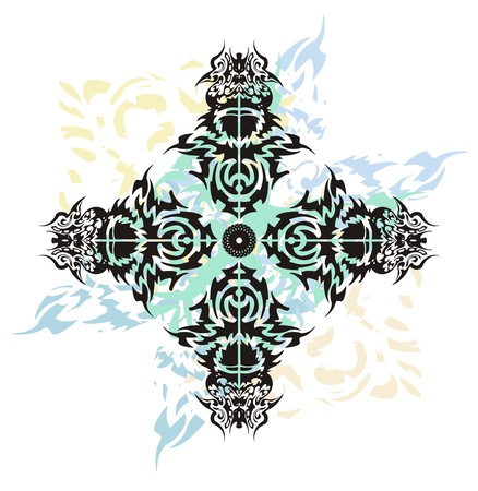 cross tribal tattoo: Tribal cross splashes tattoo. Grunge abstract cross formed by the birds heads with blue wavy splashes on a white background
