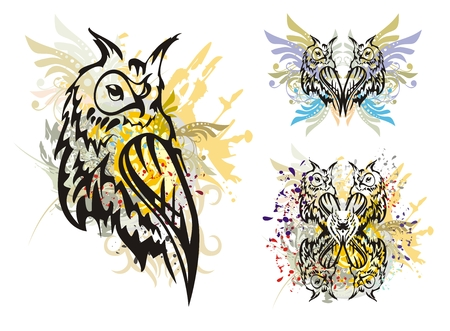 raptor: Owl splashes. Grunge tribal horned owl with floral elements splashes and blood drops