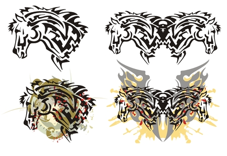 Tribal furious stallion head tattoos with splashes. Tattoos of the stallion head and the grunge stallion head with the eagle head and bloody splashes symbolizing power