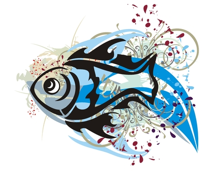 Grunge fish splashes with floral elements and blood drops