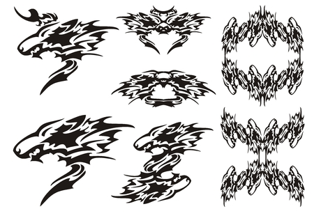 wolf: Tribal wolf symbols tattoos and wolves frames Illustration