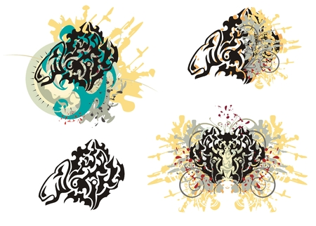 animal head: Tribal animal splashes. Grunge imaginary animal head with floral splashes, blood drops, the sun and the eagle head