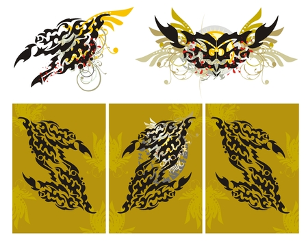 triptych: Tribal fire dragon splashes and a dragon triptych. Grunge imaginary fire dragon head with floral elements splashes and blood drops