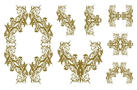 Tribal decorative golden unicorn symbols
