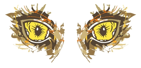 diabolic: Grunge cat eyes. Details of yellow tribal cats eyes