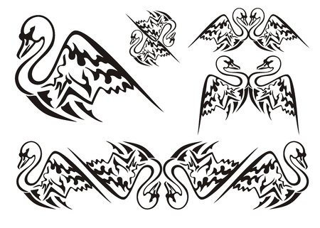 swan: Vector tattoo style swan symbols. Tribal swan symbols and swan stripe. Black on the white