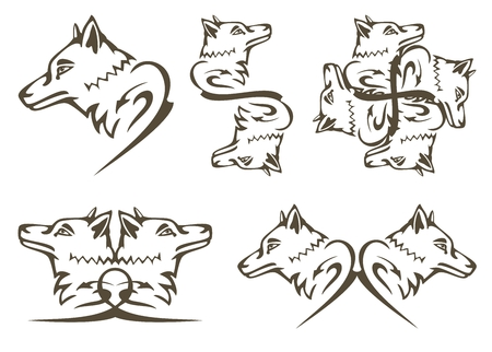 lobo feroz: Símbolos lobo tribal. Tatuajes en la cabeza de lobo Predator