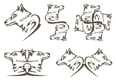 Tribal wolf symbols. Predator wolf head tattoos