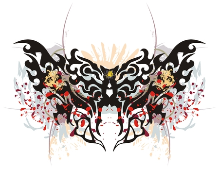 Tribal butterfly splashes with tiger head. Grunge moth with tiger head and blood drops