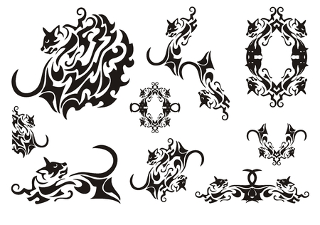 diabolic: Tribal cat symbols. Butterfly wing in the form of a cat, a frame of a cat and cats elements isolated on a white background Illustration