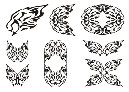Tribal lion elements. The lions head with an arrow, a lions frame, a lions circle, lion butterflies Illustration