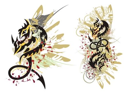 dragon tribal: �claboussures de dragon tribal. Grunge boucle de dragon avec des gouttes de sang