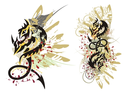 predators: Tribal dragon splashes. Grunge dragon loop with blood drops Illustration