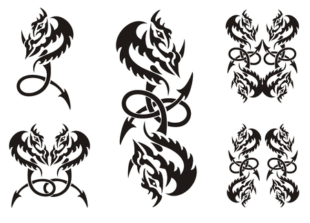 Tattoos of dragon symbols with an arrow. Dragon loop. Tribal black dragon symbols on a white background Illustration