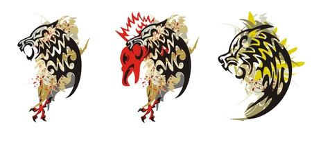 aggressive: Wolf splashes. Grunge tribal aggressive wolf head. Three options