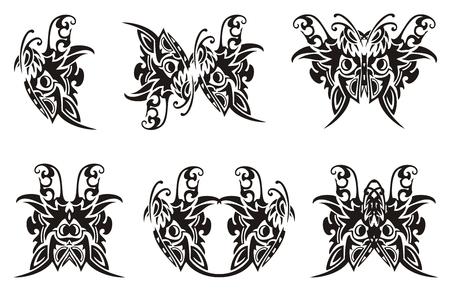 twirled: Simboli farfalla tribali. Nero su bianco Vettoriali