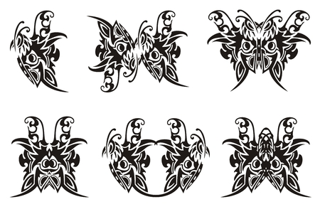 twirled: Tribal butterfly symbols. Black on the white