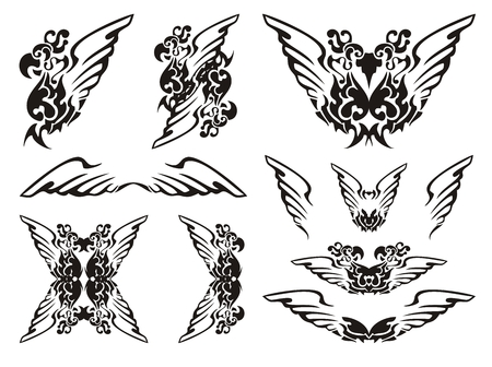 open flame: Parrot wings symbols.Black on the white Illustration
