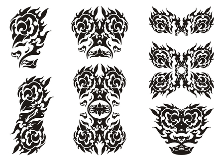Tribal rose elements in the eagle form