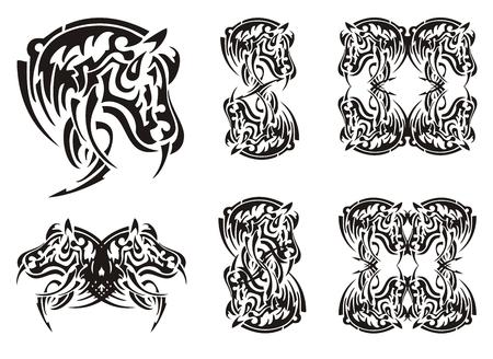 ungulate: Tribal horse symbols and horse frames