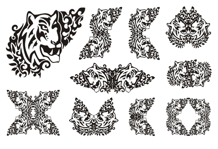thickets: Tiger flame set in tribal style. Symbols of the tiger head in thickets