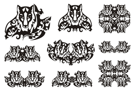 thickets: Tribal fox symbols. Symbols of the fox head in thickets