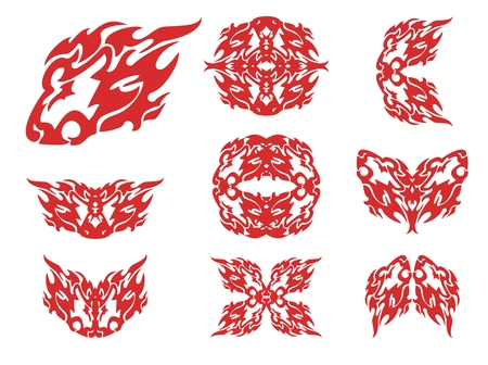 stately: Flaming lion head and symbols from it. Tribal flaming lion head, double lion sing and lions circles isolated on a white background