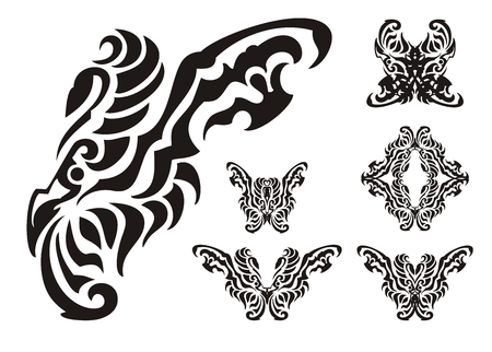 open flame: Tribal butterfly wings elements. Wing of a butterfly in the form of a bird and symbols from it